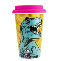 Mustard T-Rex Reusable Double Wall Coffee Cup