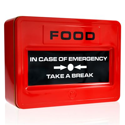Mustard Take A Break Fire Alarm Shaped Food Tin - Closed Box