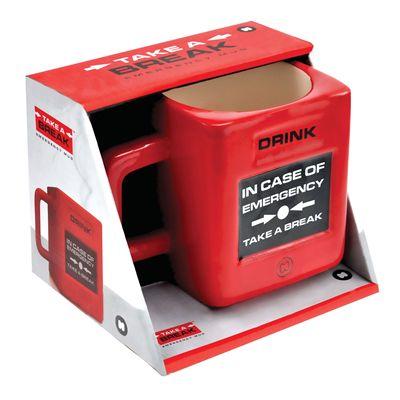 Mustard Take a Break Fire Alarm Shaped Mug-Box