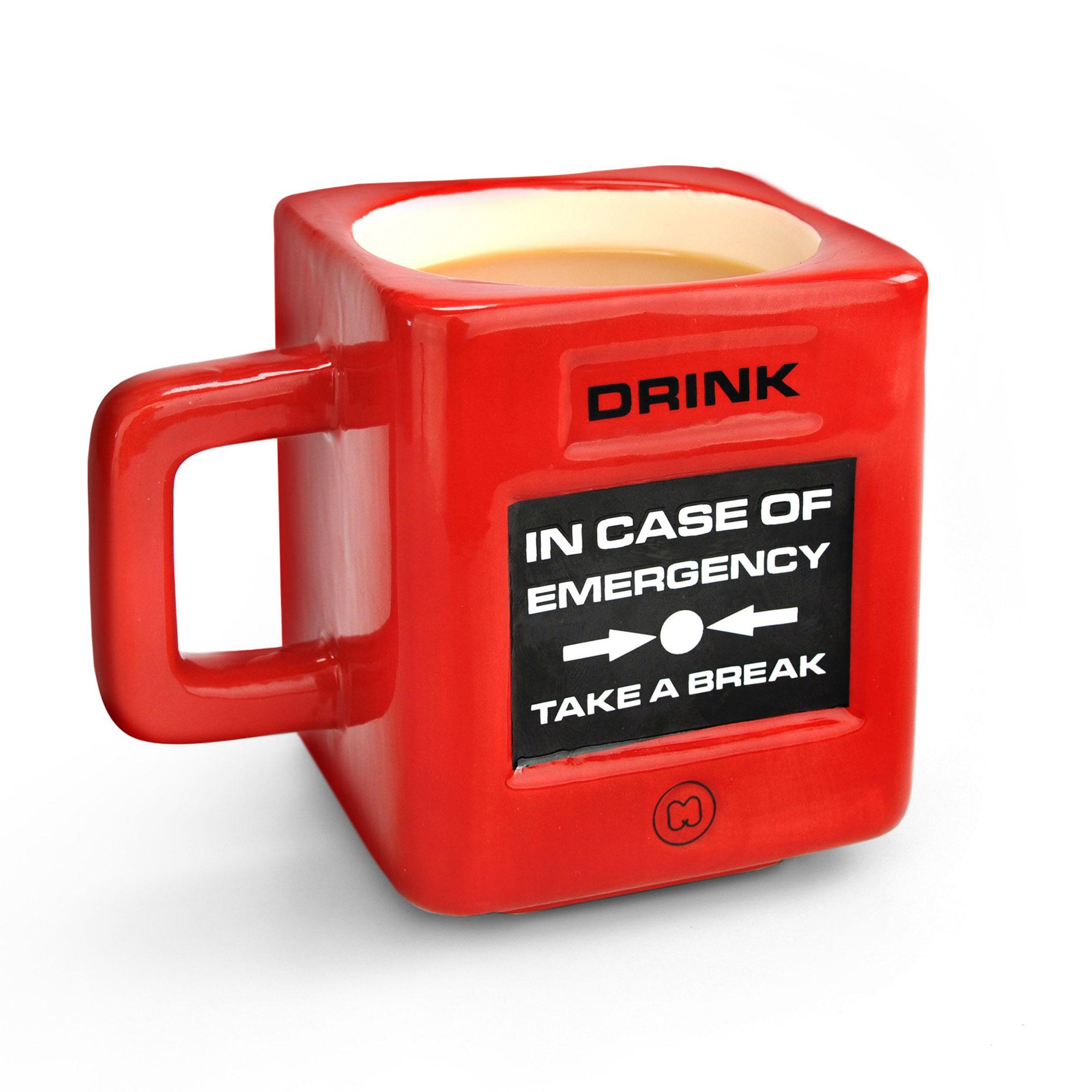 Mustard Take a Break Fire Alarm Shaped Mug