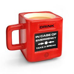 Mustard Take a Break Fire Alarm Shaped Mug