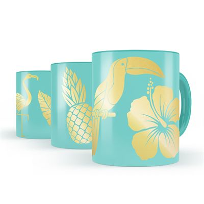 Mustard Tropical Transfers Metallic Mug Decals