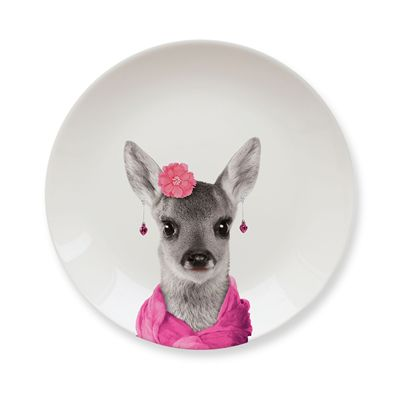 Mustard Wild Dining Deer Ceramic Small Size Dinner Plate - Image 2