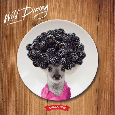 Mustard Wild Dining Deer Ceramic Small Size Dinner Plate