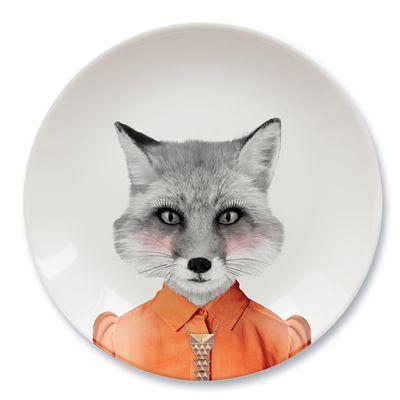Mustard Wild Dining Fox Ceramic Dinner Plate-Image