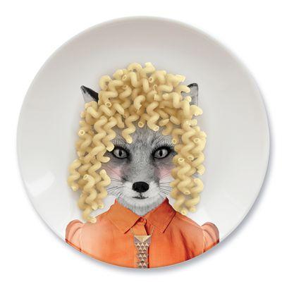 Mustard Wild Dining Fox Ceramic Dinner Plate-In Use