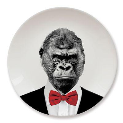 Mustard Wild Dining Gorilla Ceramic Dinner Plate Image 2