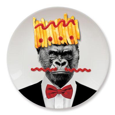 Mustard Wild Dining Gorilla Ceramic Dinner Plate Image 3