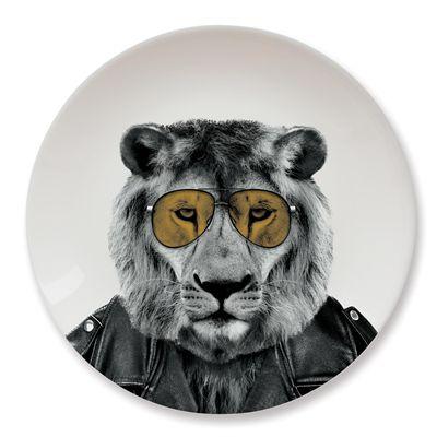 Mustard Wild Dining Lion Ceramic Dinner Plate - Image 2