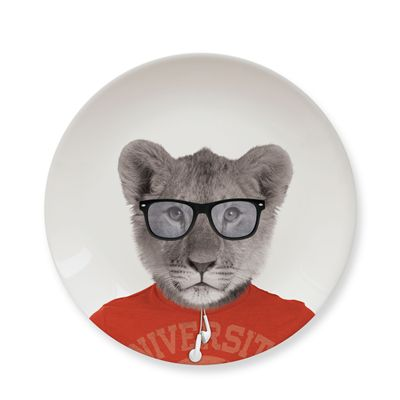 Mustard Wild Dining Lion Ceramic Small Size Dinner Plate - Image 2