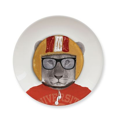 Mustard Wild Dining Lion Ceramic Small Size Dinner Plate - Image 3