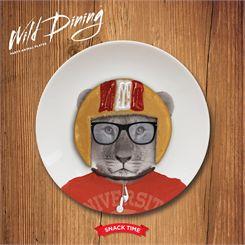 Mustard Wild Dining Lion Ceramic Small Size Dinner Plate