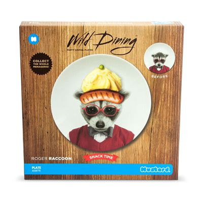 Mustard Wild Dining Raccoon Ceramic Small Size Dinner Plate - Image 1