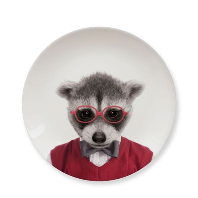 Mustard Wild Dining Raccoon Ceramic Small Size Dinner Plate - Image 2