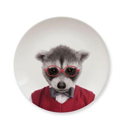 Mustard Wild Dining Raccoon Ceramic Small Size Dinner Plate - Image 2