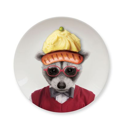 Mustard Wild Dining Raccoon Ceramic Small Size Dinner Plate - Image 3