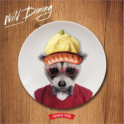 Mustard Wild Dining Raccoon Ceramic Small Size Dinner Plate