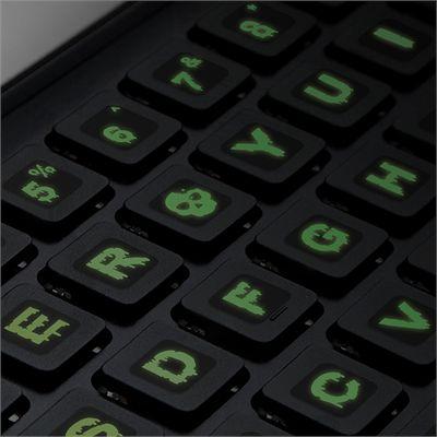 Mustard Working Dead Glow in The Dark Keyboard Stickers - In Use
