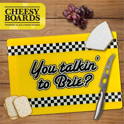 Mustard You Talkin To Brie Tempered Glass Cheesy Board