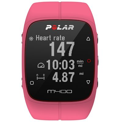 Polar M400 GPS Heart Rate Monitor - Pink - Front
