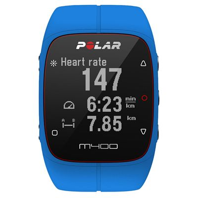 Polar M400 GPS Sports Watch - Blue - Front