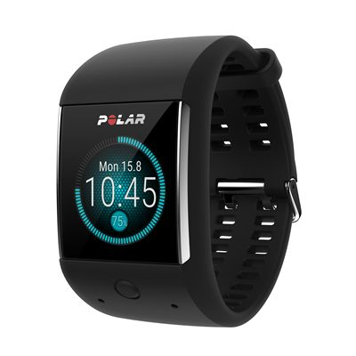 Polar M600 Heart Rate Monitor-Black-Angled-Time