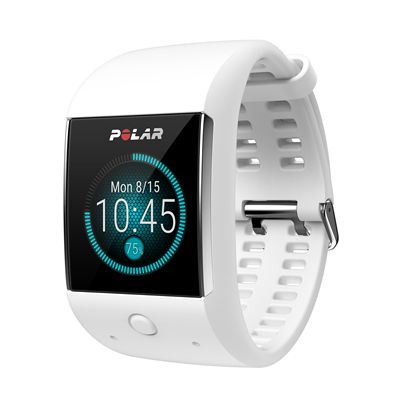 Polar M600 Heart Rate Monitor-White-Angled-Time