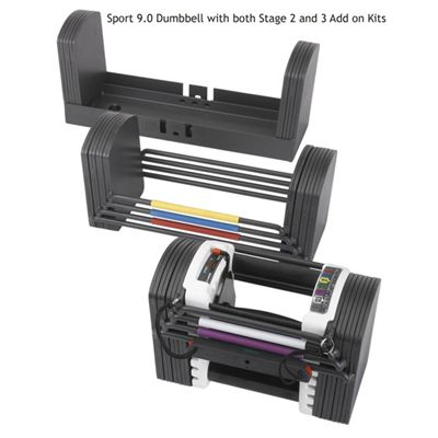 Powerblock Sport 9 Dumbbell with both stage 2 and 3 Add on Kits