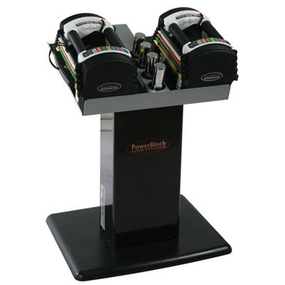 PowerBlock U70 Stage 1 Adjustable Dumbbells on stand