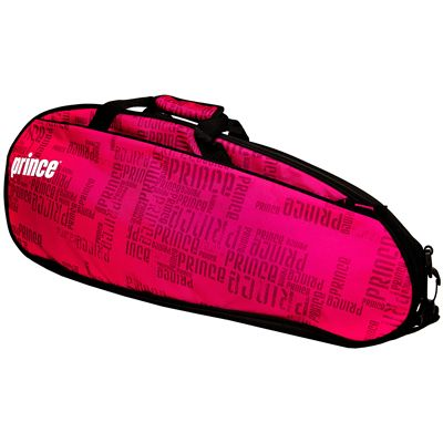 Prince Club 3 Pack Racket Bag-Black and Pink-Side A