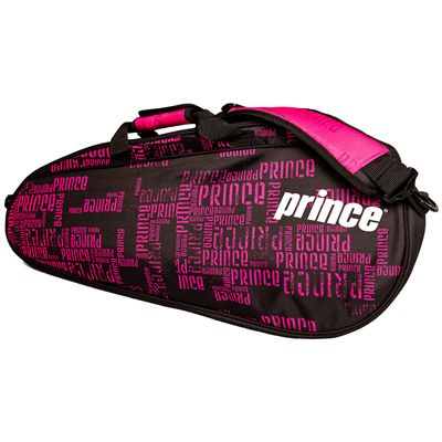 Prince Club 3 Pack Racket Bag-Black and Pink-Side B