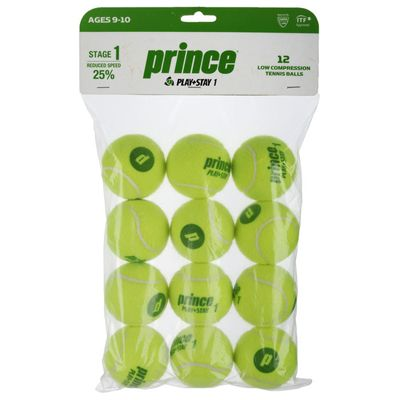 Prince Play and Stay Stage 1 Green Dot Mini Tennis Balls - 12 Pack