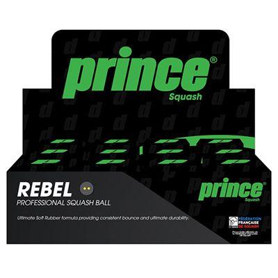 Prince Rebel Double Yellow Dot Squash Balls - 1 dozen