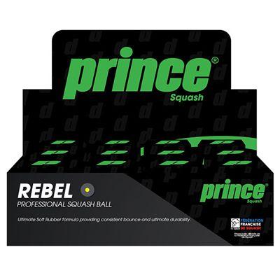 Prince Rebel Single Yellow Dot Squash Balls - 1 dozen