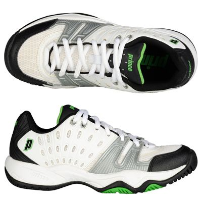 Prince T22 Junior Tennis Shoes - White and Black and Green-Alternative View