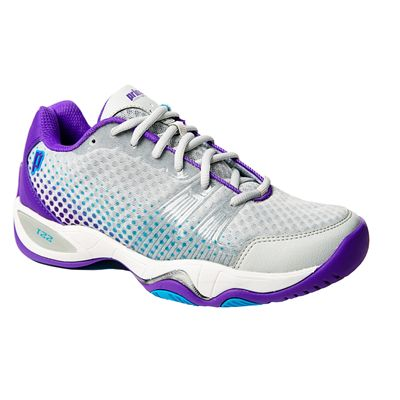 Prince T22 Lite Ladies Tennis Shoes-Grey and Purple and Blue-Side