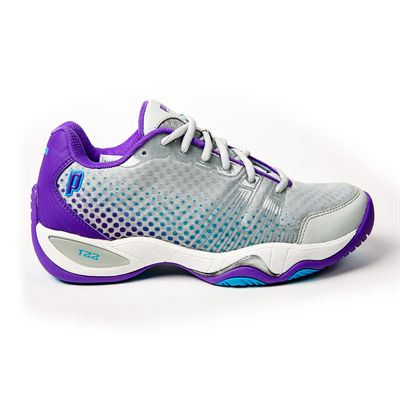 Prince T22 Lite Ladies Tennis Shoes-Grey and Purple and Blue - Lateral