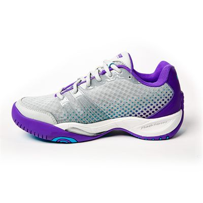 Prince T22 Lite Ladies Tennis Shoes-Grey and Purple and Blue - Medial