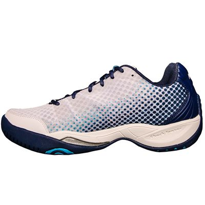 Prince T22 Lite Mens Tennis Shoes-White and Navy and Blue-Lateral