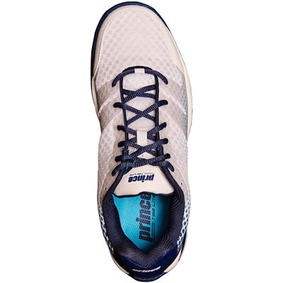 Prince T22 Lite Mens Tennis Shoes-White and Navy and Blue-Top