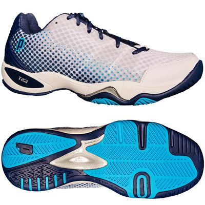 Prince T22 Lite Mens Tennis Shoes-White and Navy and Blue