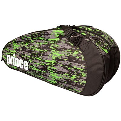 Prince Team 6 Pack Racket Bag-Black and Green-Angled