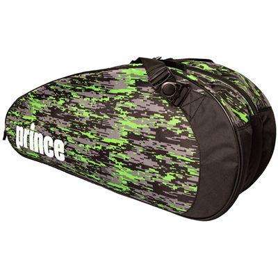 Prince Team 6 Pack Racket Bag-Black and Green-Angled