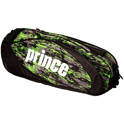 Prince Team 6 Pack Racket Bag-Black and Green-Side