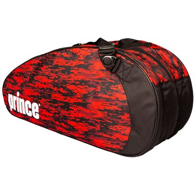 Prince Team 6 Pack Racket Bag-Black and Red-Angled