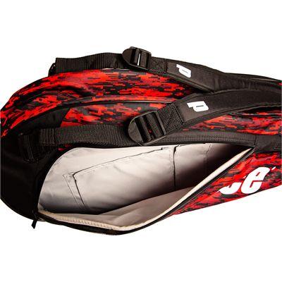 Prince Team 6 Pack Racket Bag-Black and Red-Inside