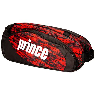 Prince Team 6 Pack Racket Bag-Black and Red-Side