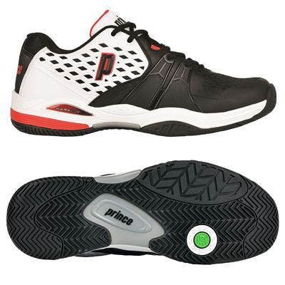 Prince Warrior Mens Tennis Shoes - White/Black/Red