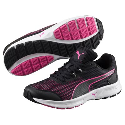 Puma Descendant v4 Ladies Running Shoes-Black-Pink-Image