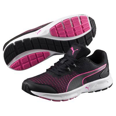Puma Descendant v4 Ladies Running Shoes-Black-Pink-Image